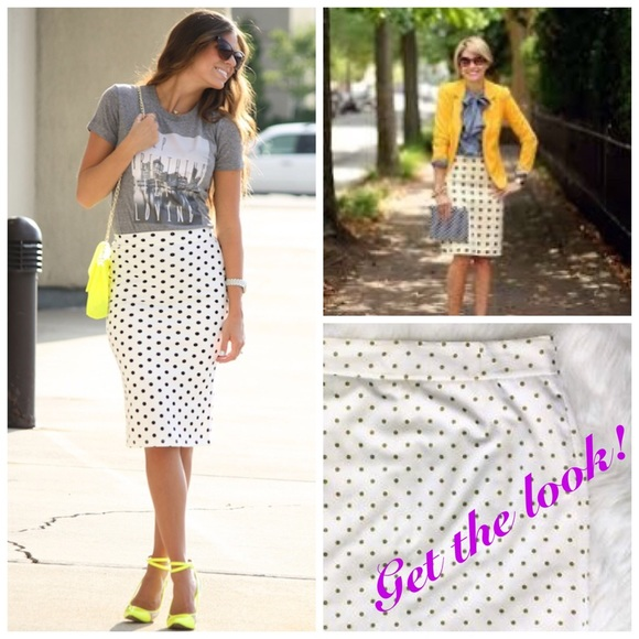 597a90c92 J. Crew Skirts | J Crew Polka Dot Pencil Skirt Greenwhite Cotton ...